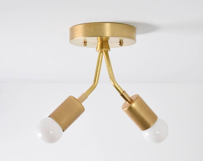 Modern Semi Flush Raw Brass Gold 2 Bulb Mid Century Edison Industrial Hanging Light Lighting