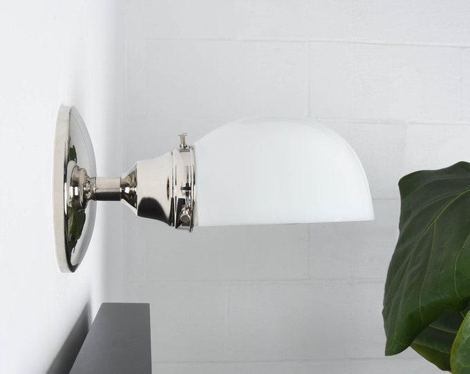 Industrial Wall Light - Polished Nickel - Mid Century - Modern - Industrial - Opal Glass Shade - Bathroom Vanity - UL Listed [BRADENTON]
