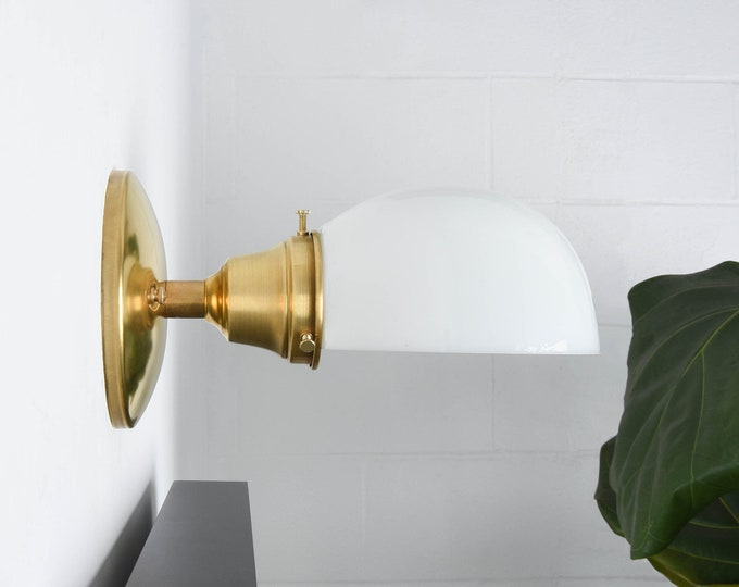 Industrial Wall Light - Raw Brass - Mid Century - Modern - Industrial - Opal Glass Shade - Bathroom Vanity - UL Listed [BRADENTON]