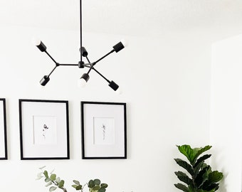 Black Sputnik Chandelier - Mid Century - Industrial - Modern - Ceiling Light - Branching Chandelier - UL Listed [PORTLAND]