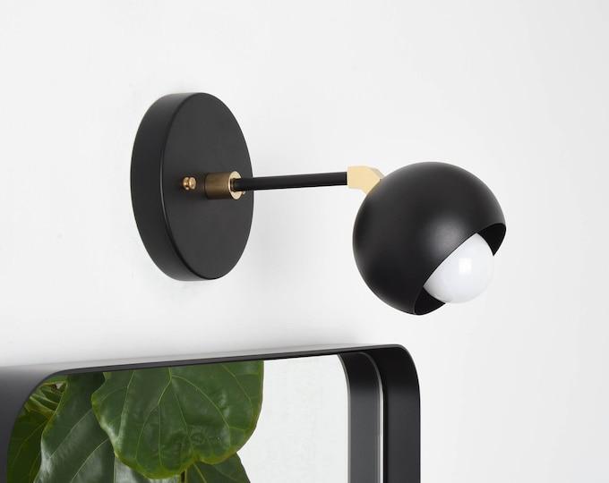 Mid Century Light - Modern Wall Sconce - Black & Brass - Industrial - Wall Light - Bathroom Vanity - UL Listed [TAVARES]