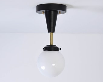 Riverside Semi Flush [Black & Brass - Mid Century - Modern - Industrial - Candelabra - Glass Globe - Single Light - UL Listed]