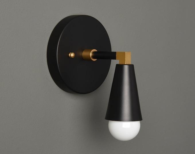 Modern Bathroom Light - Mid Century Wall Sconce - Black & Brass - Industrial - Wall Light - Bathroom Vanity - UL Listed [BENNETT]