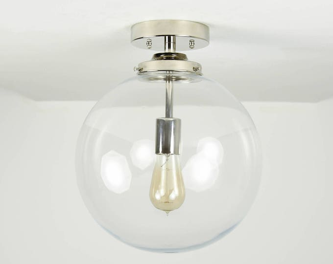 Semi Flush Ceiling Light - Polished Nickel - Mid Century - Modern - Industrial - Glass Globe - UL Listed [CLAREMONT]