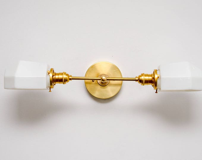 Wall Sconce Vanity Gold Brass 2 Bulb With White Opal Geometric Globe Modern Mid Century Industrial Light Bathroom UL Listed