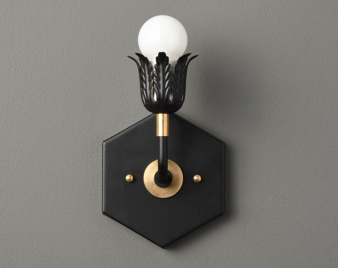 Wall Sconce - Black & Brass - Mid Century - Modern - Industrial - Decorative - Wall Light - Art Light - Bathroom Vanity - UL Listed [AVERY]