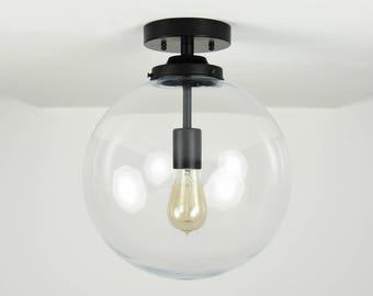 Matte Black Modern Semi Flush Lighting with Clear Glass Globe