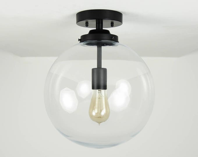Semi Flush Ceiling Light - Matte Black - Mid Century - Modern - Industrial - Glass Globe - UL Listed [CLAREMONT]