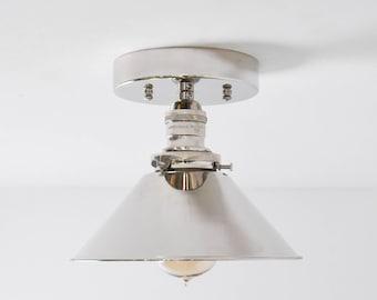 Hayward Semi Flush [Polished Nickel - Mid Century - Modern - Farmhouse - Single Light - Cone Shade - UL Listed]