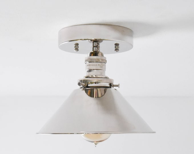 Semi Flush Ceiling Light - Polished Nickel - Mid Century - Modern - Farmhouse - Cone Shade - UL Listed [HAYWARD]