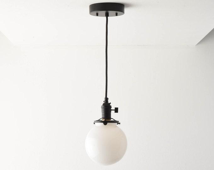 Globe Pendant Light - Matte Black - Mid Century - Modern - Industrial - White Glass Globe - Ceiling Canopy Mount - Edison [ROSLYN]