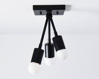 Semi Flush Ceiling Light - Matte Black - Mid Century - Modern - Industrial - Sputnik - Atomic - UL Listed [MALIBU]