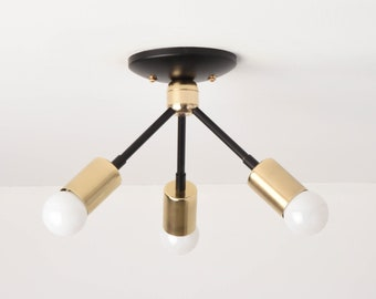 Semi Flush Ceiling Light - Black & Brass - Mid Century - Modern - Industrial - Angled - Sputnik - UL Listed [ALHMABRA]