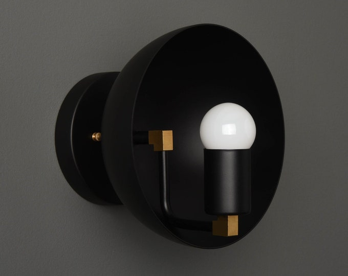 Modern Wall Light - Mid Century Wall Sconce - Black & Brass - Industrial - Decorative - Bathroom Vanity - UL Listed [ALTON]