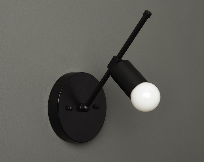 Wall Sconce - Matte Black - Mid Century - Modern - Industrial - Wall Light - Abstract - Bathroom Vanity - Art Light - UL Listed [LONGMONT]