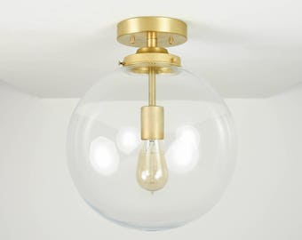 Semi Flush Ceiling Light - Raw Brass - Mid Century - Modern - Industrial - Ceiling Lighting - Glass Globe - UL Listed [CLAREMONT]