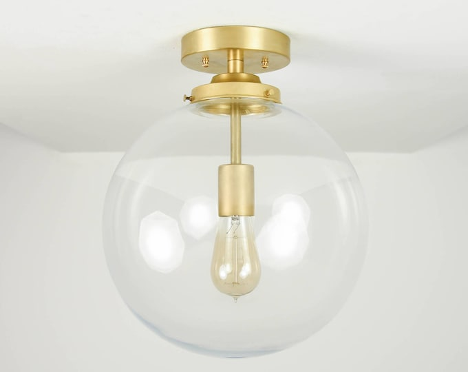 Semi Flush Ceiling Light - Raw Brass - Mid Century - Modern - Industrial - Ceiling Lighting - Glass Globe - UL Listed [CLAREMONT]