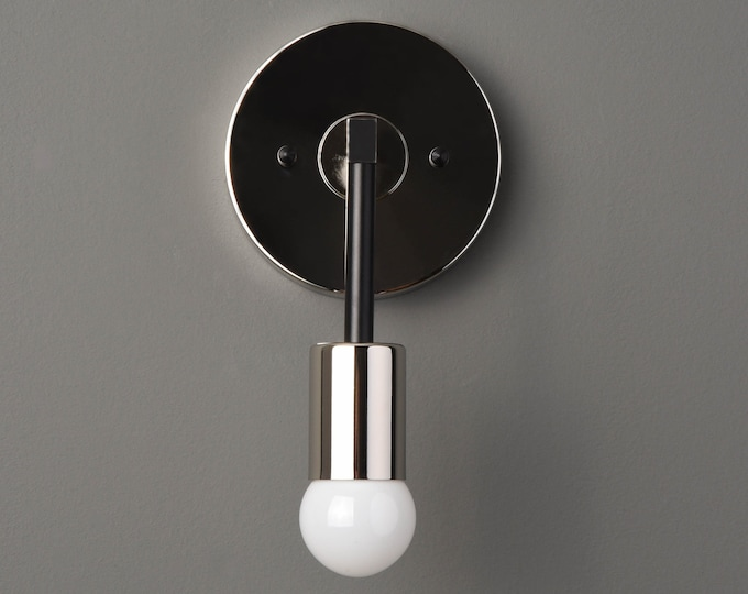 Wall Sconce - Black & Nickel - Mid Century - Modern - Industrial - Wall Light - Bathroom Vanity - Art Light - UL Listed [FRASER]