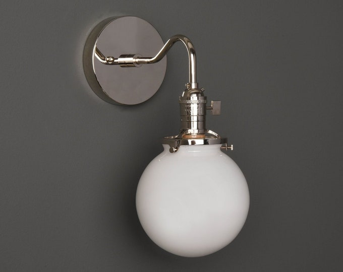 Wall Sconce - Polished Nickel - Mid Century - Modern - Industrial - Single Light - White Glass Globe - Bathroom Vanity - UL Listed [ALFORD]