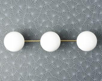Triple Light Glass Globe Vanity Fixture  -  Raw Brass - Mid Century Modern - Bathroom Vanity - Wall Light - UL Listed [SHEPHERD]