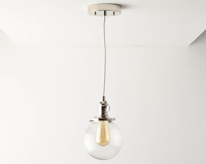 Globe Pendant Light - Polished Nickel - Mid Century - Modern - Industrial - Clear Glass Globe - Cloth Wire - Canopy - Edison Bulb [ROSLYN]