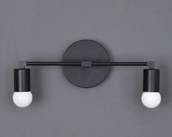Wall Sconce Vanity Matte Black 2 Bulb Round Base Modern Downward Abstract Mid Century Industrial Art Light Bathroom UL Listed