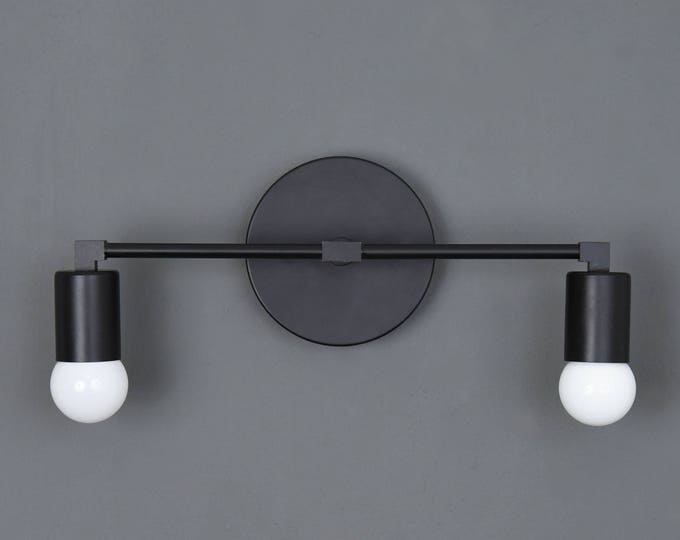 Arvada Wall Sconce [Matte Black - Mid Century - Modern - Industrial - Vanity - 2 Bulb - Art Light - Bathroom - UL Listed]