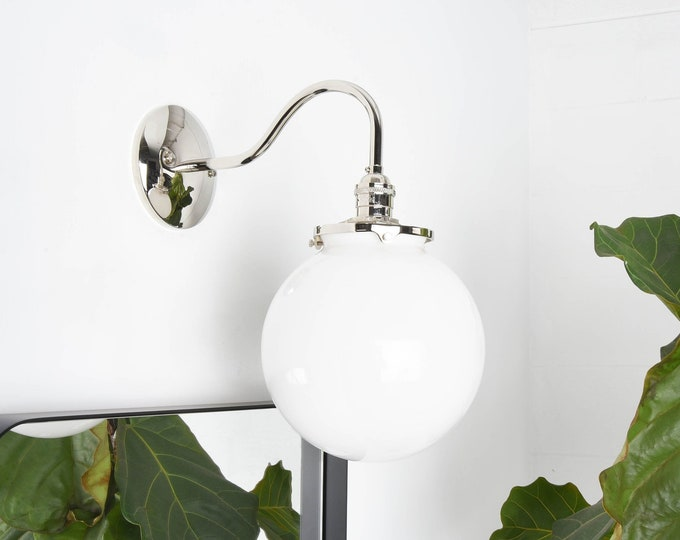 Modern Wall Sconce - Polished Nickel - Mid Century - Industrial - 8 inch Glass Globe - Bathroom Vanity - UL Listed [MASCOTTE]