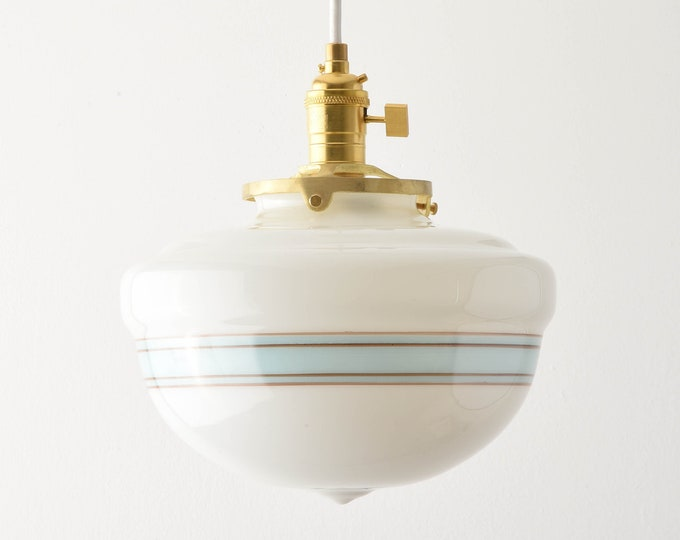 Pendant Light - Raw Brass - Mid Century - Modern - Industrial - White - Turquoise Blue - Painted Banding - Schoolhouse Glass Globe [SUMNER]