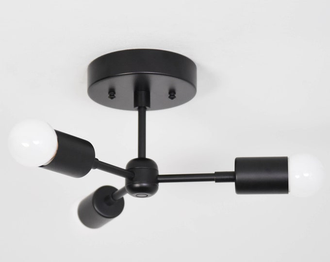 Semi Flush Ceiling Light - Matte Black - Mid Century - Industrial - Modern - Pinwheel - Sputnik - Minimal - UL Listed [TOKYO]