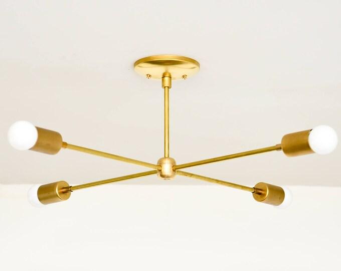 Large Modern Chandelier Gold Brass 4 Bulb Arm Sputnik Mid Century Semi Flush Edison Industrial Modern UL Listed