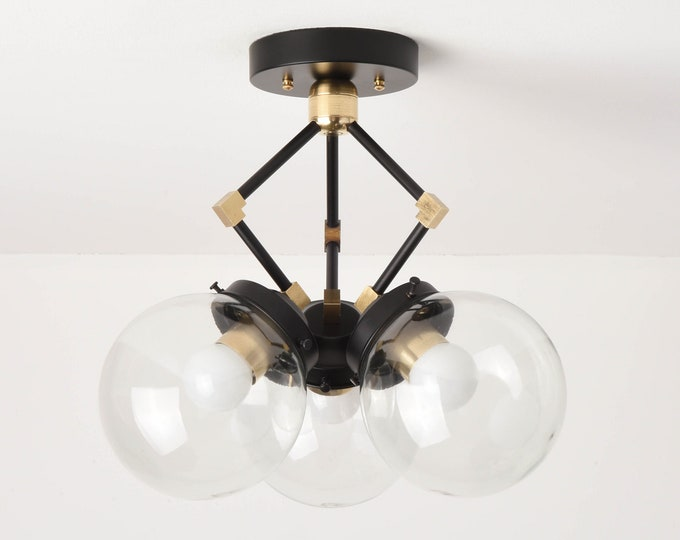 Semi Flush Ceiling Light - Black & Brass - Mid Century - Modern - Industrial - 6 Inch Globe - UL Listed [BERKELEY]