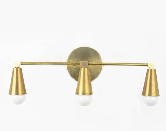 Aurora Wall Sconce [Raw Brass - Mid Century - Modern - Industrial - Vanity - 3 Light - Cone Covers - Art Light - Bathroom - UL Listed]