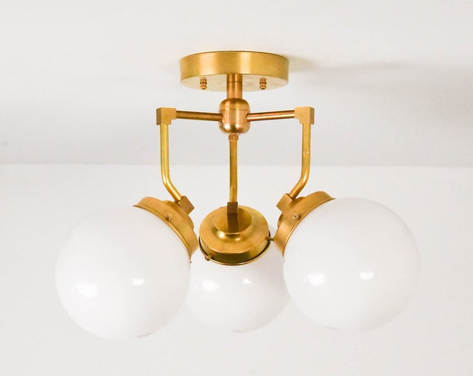 Semi Flush Ceiling Light - Raw Brass - Mid Century - Modern - Industrial - Abstract - Glass Globe - UL Listed [FREMONT]