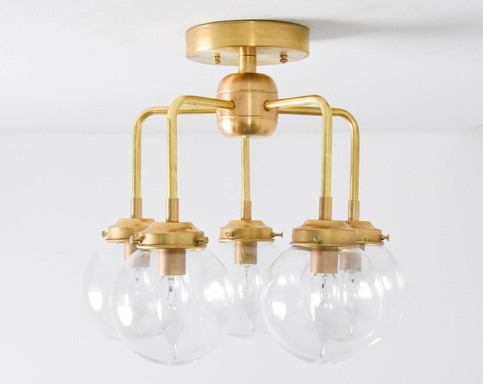 Semi Flush Ceiling Light - Raw Brass - Mid Century - Modern - Industrial - Candelabra - Curved Arms - Glass Globe - UL Listed [NAPA]