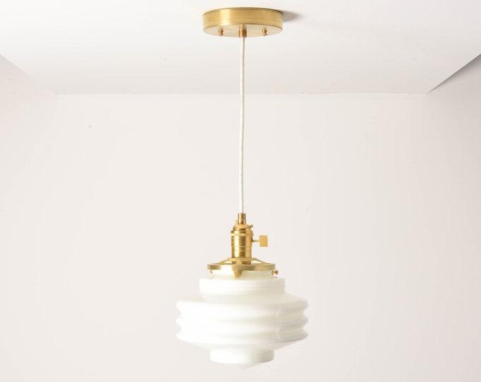 Anchorage Pendant Light [Raw Brass - Mid Century - Modern - Industrial - White - Art Deco - Opal - Handblown Glass Globe]