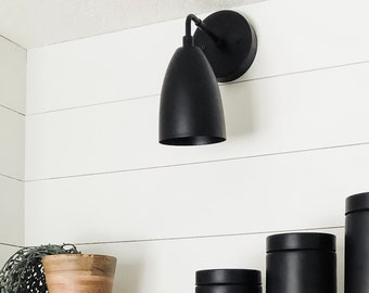 Mid Century Light - Modern Wall Sconce - Matte Black - Industrial - Wall Light - Bell Shade - Bathroom Vanity - UL Listed [ROSWELL]