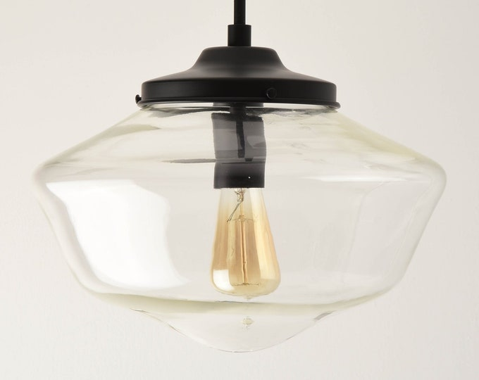 Pendant Light - Matte Black - Mid Century - Modern - Industrial - Clear - 14 inch - Schoolhouse Glass Globe [CARBONDALE]