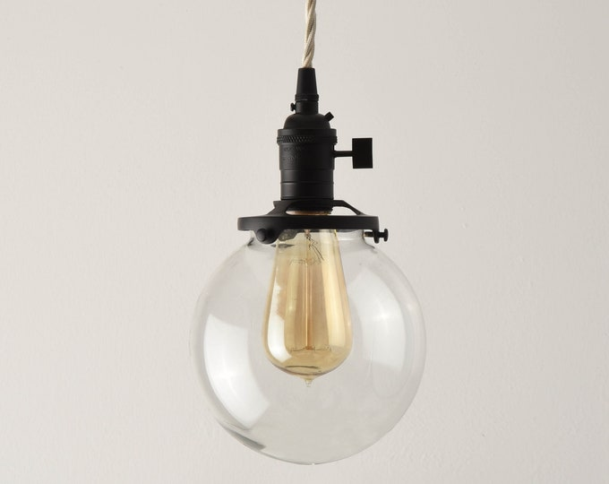 Globe Pendant Light - Matte Black - Mid Century - Modern - Industrial - Clear Glass Globe - Plug In or Canopy - Cloth Wire [EVERSON]