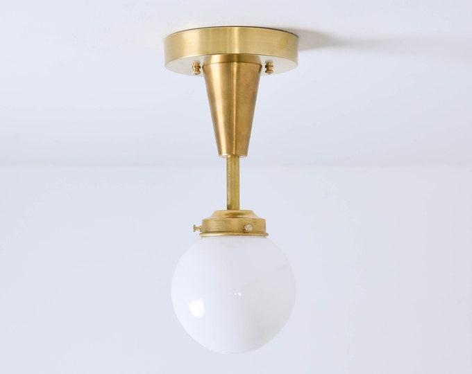 Semi Flush Ceiling Light - Black & Brass - Mid Century - Modern - Industrial - Candelabra - Glass Globe - UL Listed [RIVERSIDE]