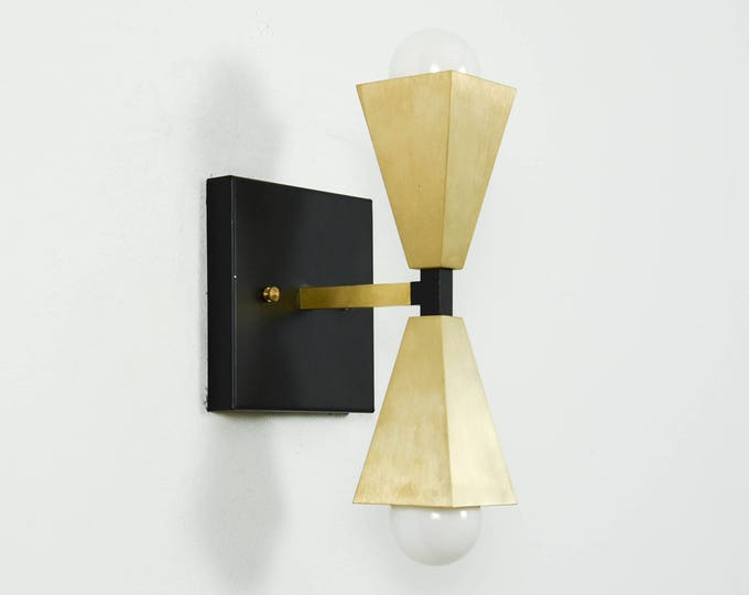 Wall Sconce - Black & Brass - Mid Century - Modern - Industrial - Wall Bulb - Art Deco - Craftsman - Bathroom Vanity - UL Listed [BRONSON]