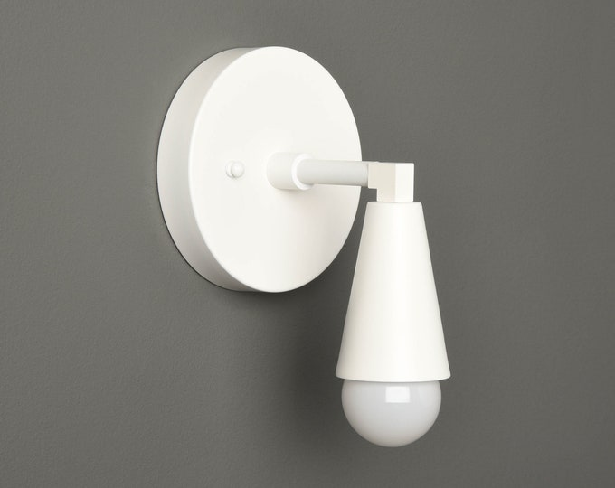 White Modern Sconce - Mid Century Wall Light - Industrial - Minimal Fixture - Bathroom Vanity - UL Listed [BENNETT]