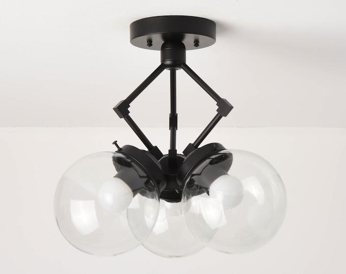 Semi Flush Ceiling Light - Matte Black - Mid Century - Modern - Industrial - 6 Inch Globe - UL Listed [BERKELEY]
