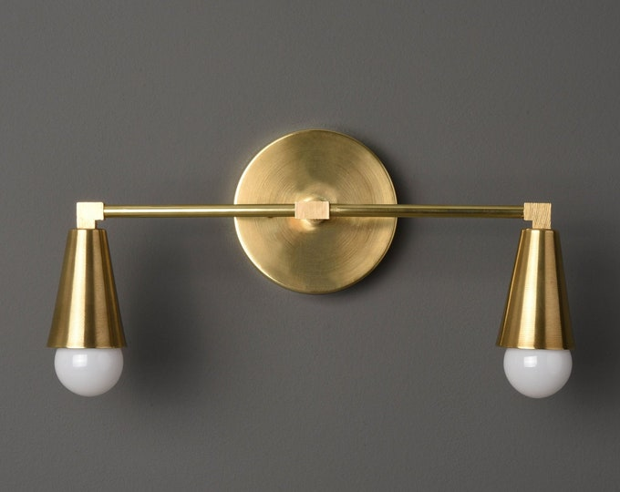 Wall Sconce - Raw Brass - Mid Century - Modern - Industrial - Wall Light - Bathroom Vanity - Art Light - UL Listed [DANBURY]