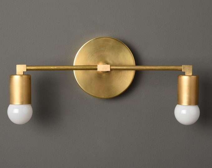 Bathroom Vanity Light - Wall Sconce - Raw Brass - Mid Century - Modern - Industrial - Wall Light - UL Listed [ARVADA]