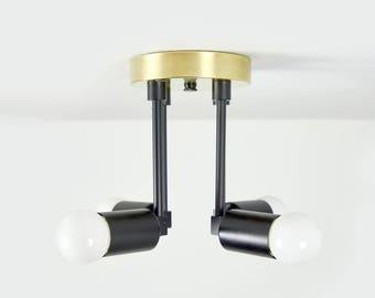 Matte Black and Gold Raw Brass Modern Semi Flush 4 Arm Bulb Atomic Sputnik Mid Century Industrial Light UL Listed