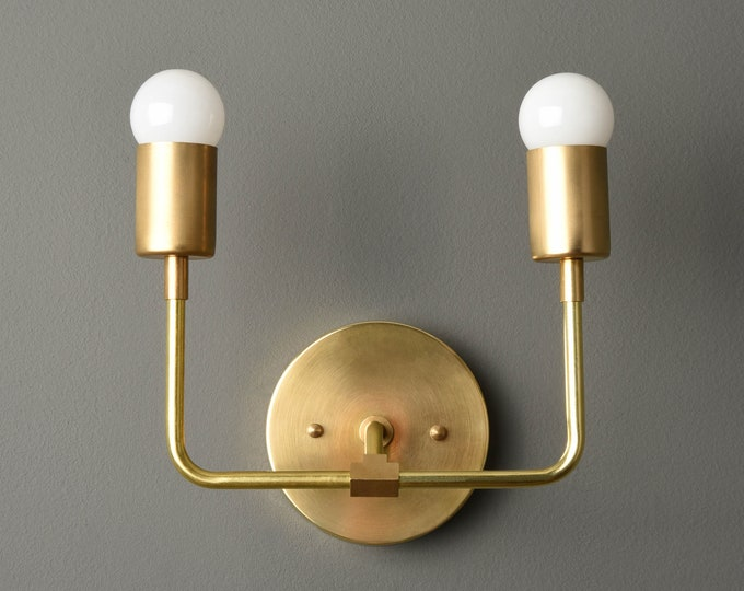 Gold Modern Sconce - Mid Century - Industrial - Wall Light - Bathroom Vanity Light - UL Listed [LANTANA]