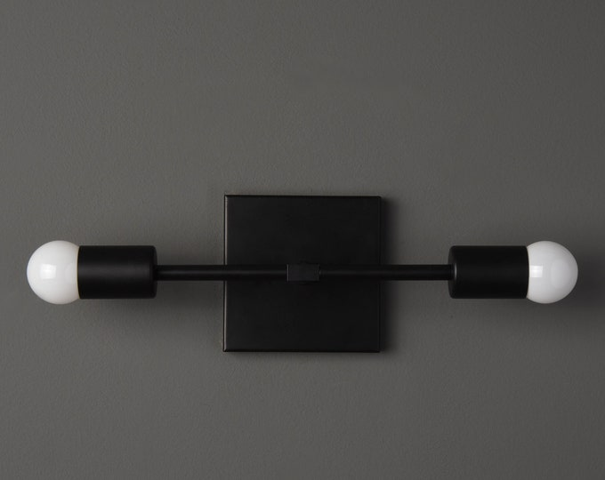 Belen Wall Sconce [Matte Black - Mid Century - Modern - Industrial - 2 Light - 2 Bulb - Art Light - Vanity - Bathroom - UL Listed]