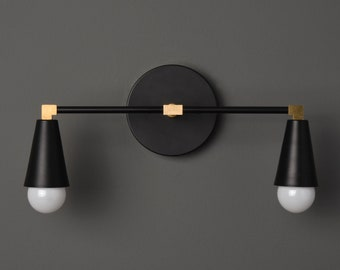 Modern Wall Sconce - Black & Brass - Mid Century - Industrial - Wall Light - Bathroom Vanity - UL Listed [DANBURY]
