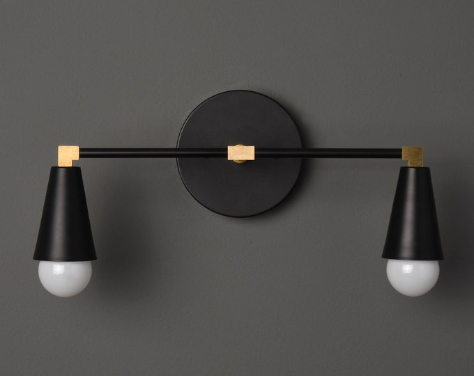 Modern Wall Sconce - Black & Brass - Mid Century - Industrial - Wall Light - Bathroom Vanity - UL Listed [DANBURY]